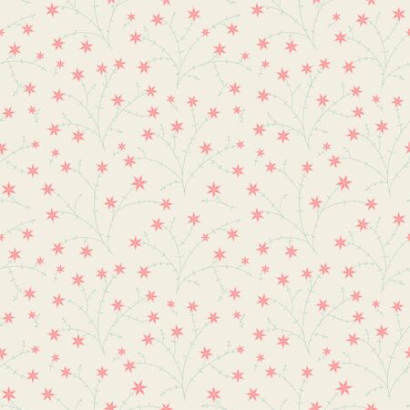 Small star bloom flowers and leaves seamless vector pattern red and green pastel color floral background
