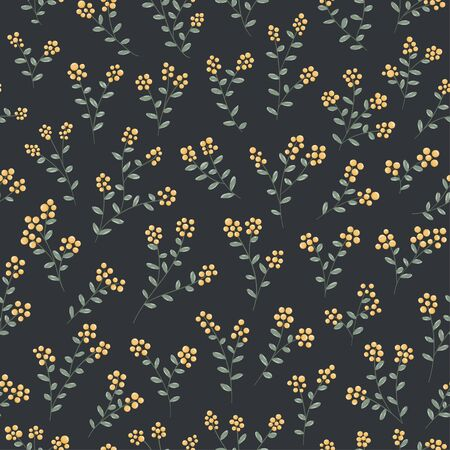 Small yellow berries and green leaves seamless pattern vector fruits background