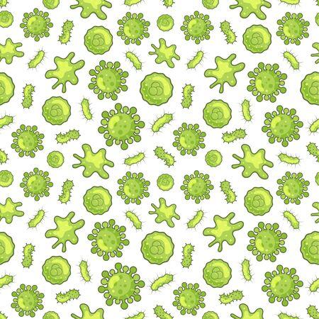 Coronavirus and bacteria seamless pattern virus disease theme background green color