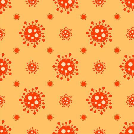 Orange Coronavirus seamless pattern vector medical background
