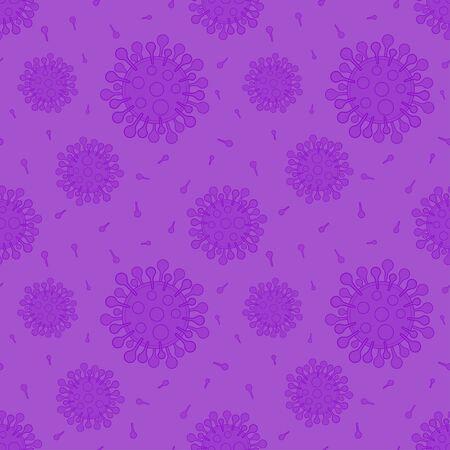 Violet coronaviruses seamless pattern vector medical background monochrome color Иллюстрация