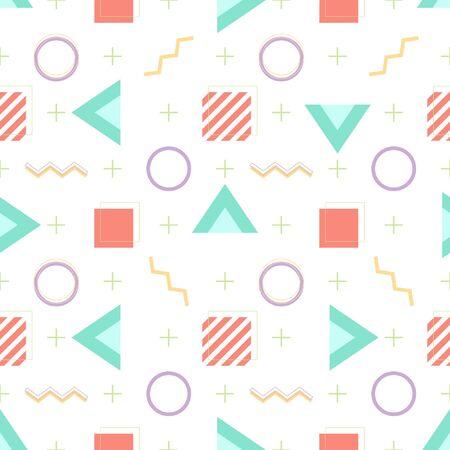 Memphis minimal geometric background seamless pattern vector illustration pastel wallpaper