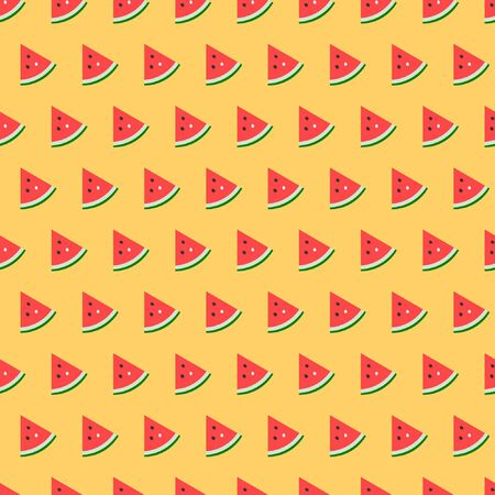 Red watermelon on yellow background seamless vector pattern