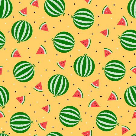 Whole watermelon and slice seamless pattern random repeat motif vector fruit background