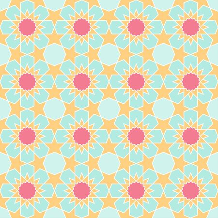 Colorful geometric arabic seamless pattern, vector islamic style tile background