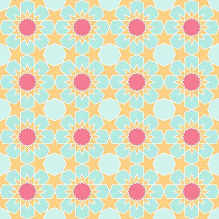 Colorful geometric arabic seamless pattern, vector islamic style tile background Фото со стока - 147150975