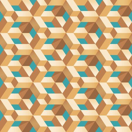 Geometric polygon shape seamless pattern abstract illusion wooden block 3d vector background Фото со стока - 147150936