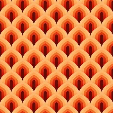 Geometric scale seamless pattern vector abstract background looklike trees in autumn orange monochrome color tone