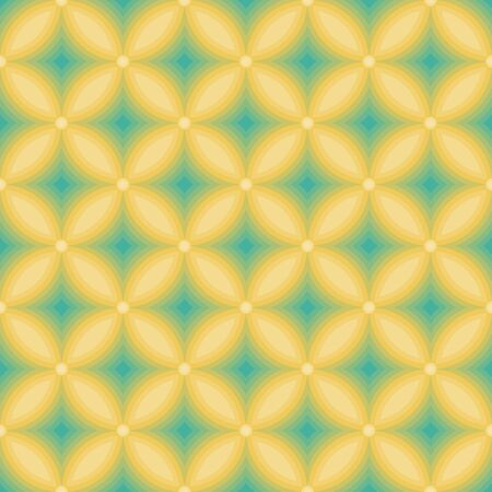 Geometric yellow flowers seamless pattern abstract illusion background Иллюстрация