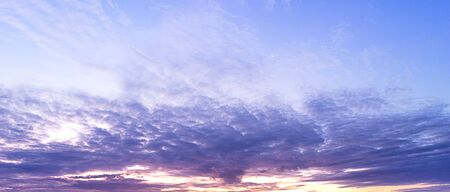 Panorama photography of twilight cloudy sky and moon nature background sunrise or sunset scene Фото со стока