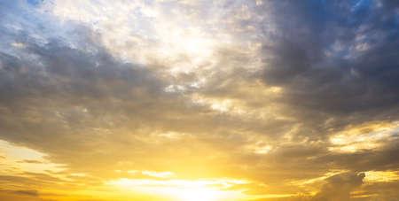 Golden overcast sky and sunrise nature background