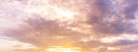 Panorama overcast morning colorful sunrise sky background Фото со стока
