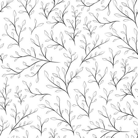 branchs line art black and white seamless pattern nature background Фото со стока - 154066209