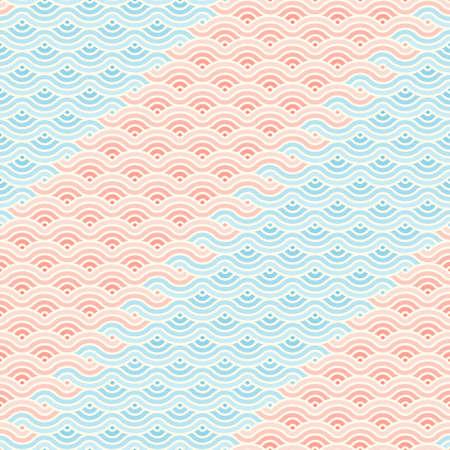 Abstract geometric wave seamless pattern asian style tide background Illusztráció