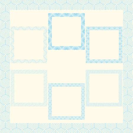 Wave and ripple frame minimal borders japanese set