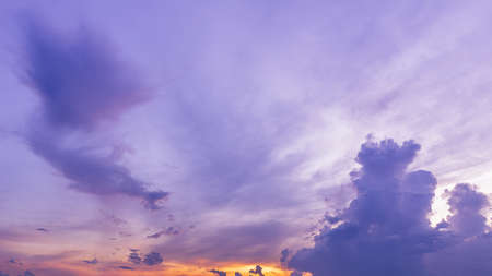 Panorama purple twilight sky with clouds nature sunrise background Stock fotó