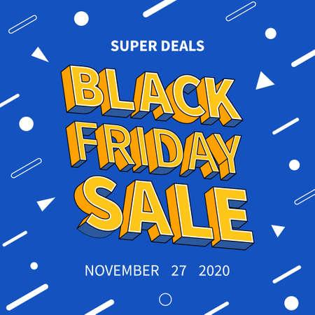 Yellow 3d text black friday sale promotion poster template Illusztráció
