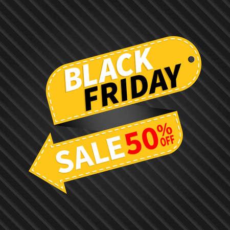Yellow ribbon tag Black friday sale promotion banner template Illusztráció