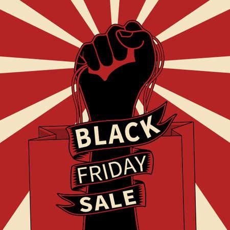 Black friday sale promotion poster template, Hand with shopping bag. Illusztráció