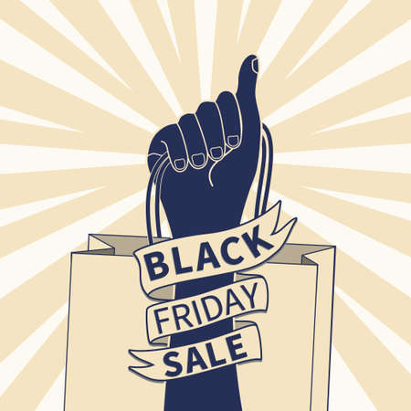 Woman rigth hand with shopping bag, Black friday sale promotion poster template