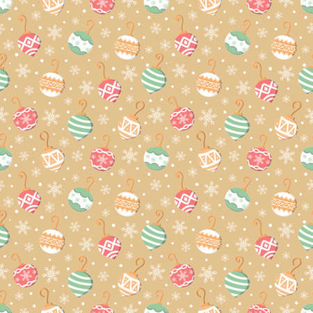 Colorful christmas ornament and snow flanke seamless pattern gold background