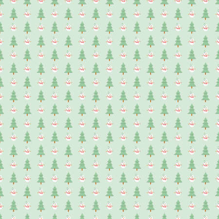 Pine tree and snowman seamless pattern, Christmas green background