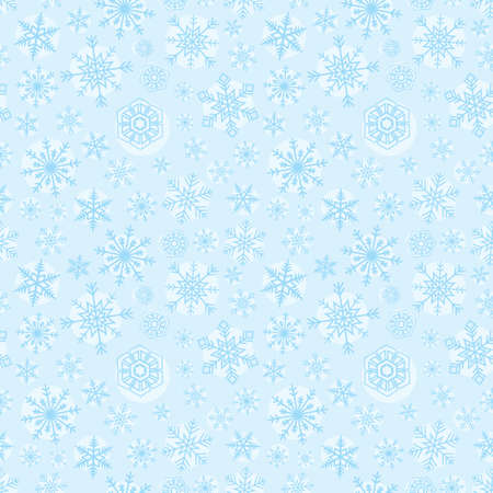 Christmas snowflake seamless pattern, blue background Иллюстрация
