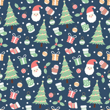Christmas holiday seamless pattern, cartoon background