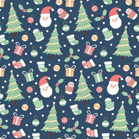 Christmas holiday seamless pattern, cartoon background