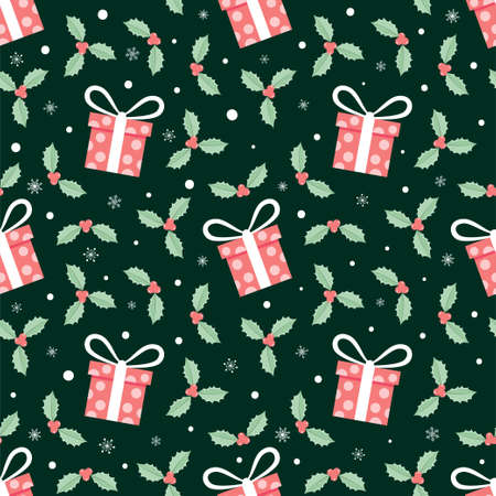 Gift box and red christmas flower seamless pattern, holiday background