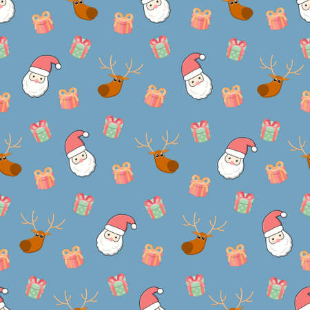 Santa Claus and reindeer and gift box seamless pattern, Christmas background
