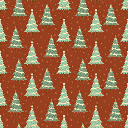 Christmas tree and snowflake seamless pattern, holiday background