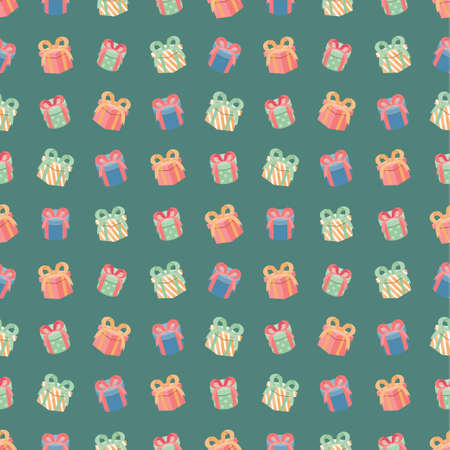 Colorful gift box seamless pattern, present holiday background