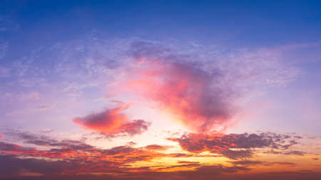 Dramatic panorama twilight sky with cloud on sunrise and sunset time.