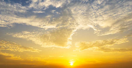 Cloudy sky and brightness sun nature background sunrise or sunset time
