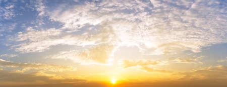 sunrise and golden cloudy sky nature panorama background 版權商用圖片