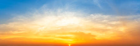Orange sunrise and softness cloudy blue sky nature panorama background