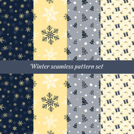 Abstract texture winter seamless pattern set