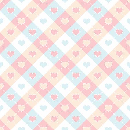 Colorful hearts shape in checkered seamless pattern Vektorgrafik