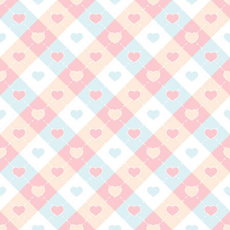 Colorful hearts shape in checkered seamless pattern