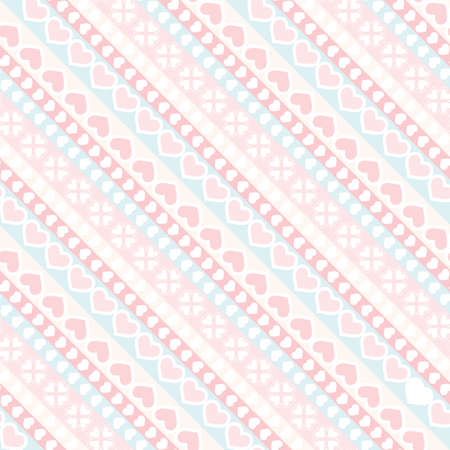 Diagonal stripe and hearts seamless pattern