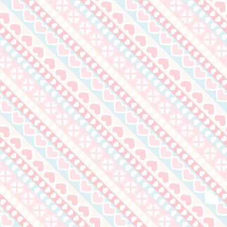 Diagonal stripe and hearts seamless pattern
