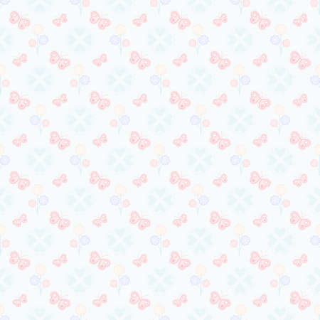 Heart butterfly and colorful flowers seamless pattern Ilustrace