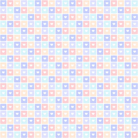 Colorful tiles seamless pattern of hearts