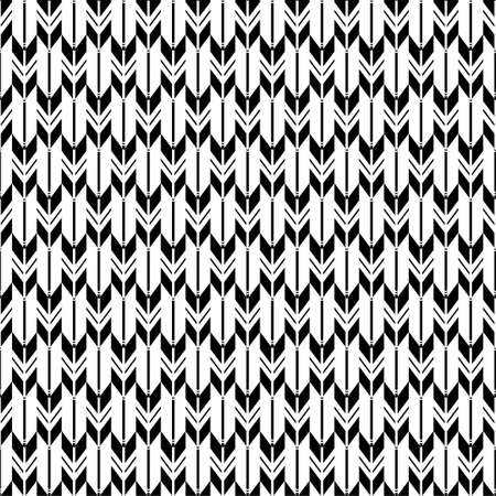 Geometric background black and white arrow feathers seamless pattern