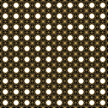 Abstract geometric shape seamless pattern black and gold stained glass background Иллюстрация