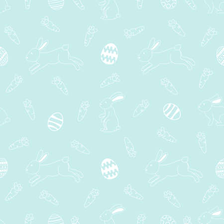 White line art bunnies and easter eggs and carrots on green background seamless pattern 向量圖像