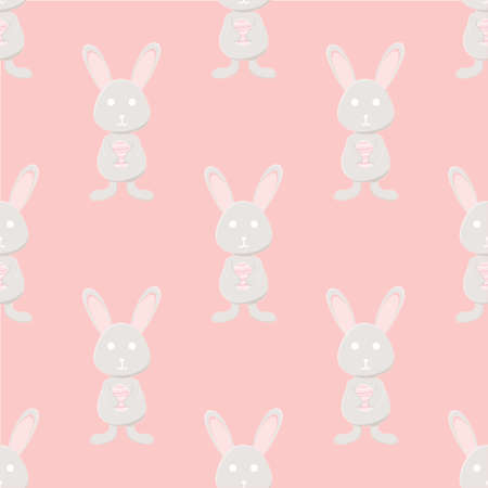 Grey rabbit holding colorful egg on pink background, easter day theme seamless pattern
