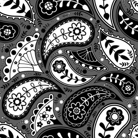 Black and white paisley seamless pattern background