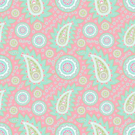 Green paisley pattern on pink background 版權商用圖片